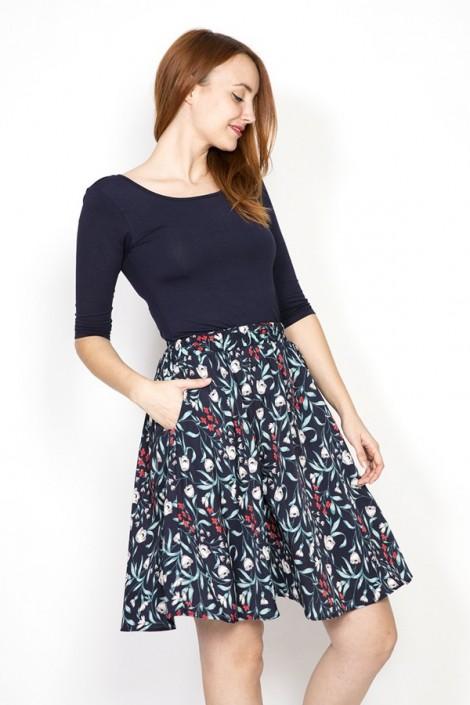 Falda midi azul marino con tulipanes grises