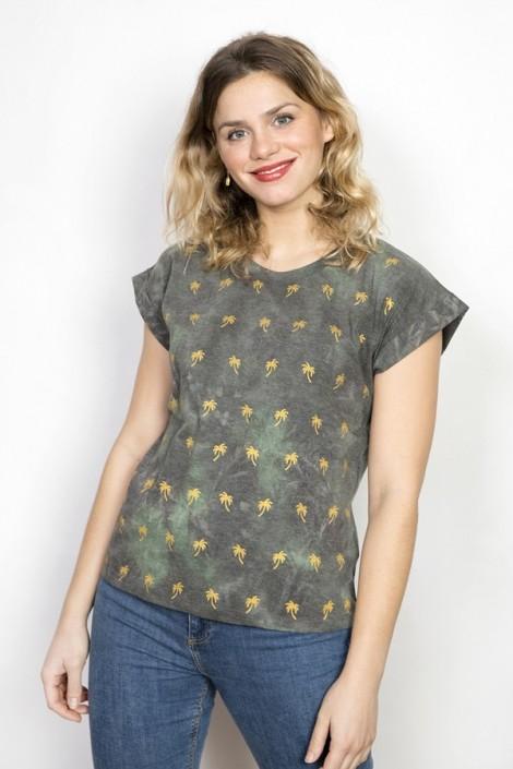Camiseta SusiSweetdress verde y gris con palmeras doradas