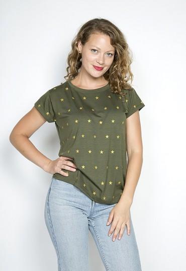 Camiseta SusiSweetdress kaki con estrellas doradas
