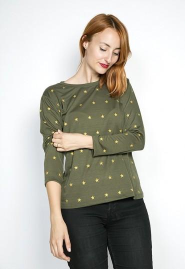 Camiseta SusiSweetdress kaki con estrellas doradas manga larga