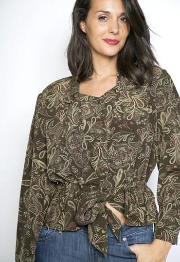 Camisa vintage única marrón cachemir