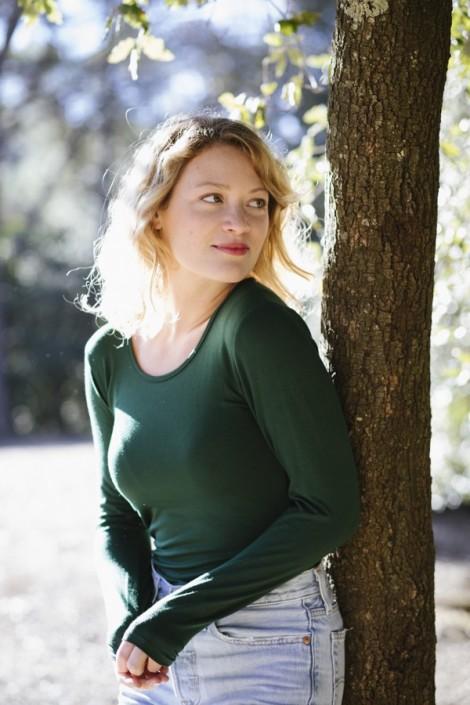 Camiseta básica SusiSweetdress verde bosque manga larga