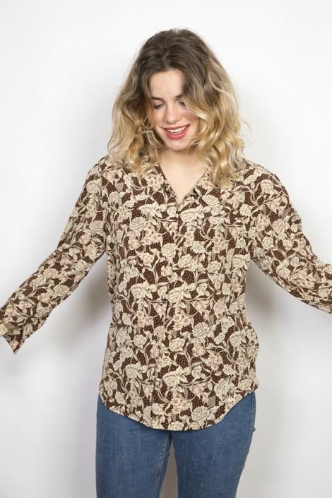 Camisa vintage marrón con flores beige