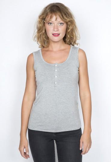 Camiseta básica SusiSweetdress gris con tirantes y botones