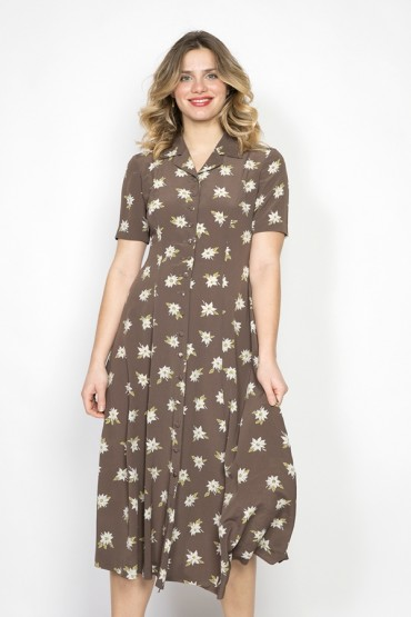 Vestido vintage marrón con flores beige