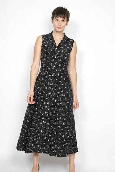 Vestido vintage negro con florecitas blancas