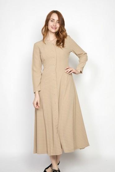 Vestido vintage marrón claro con puntos manga larga