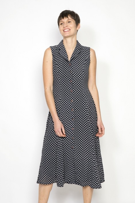 Vestido vintage negro con puntos grises