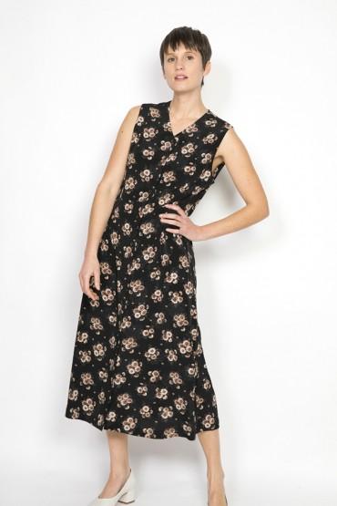 Vestido vintage negro con flores beige y marrones