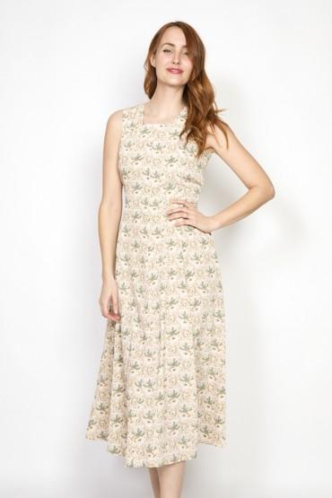 Vestido vintage blanco con flores verdes y marrones