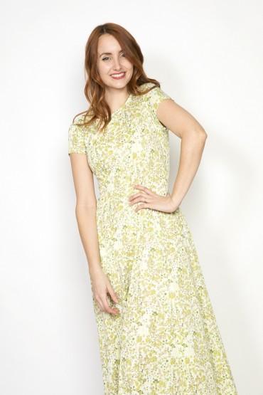 Vestido vintage blanco con flores verdes