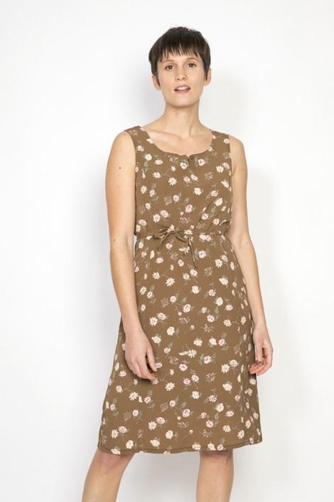 Vestido vintage marrón con flores blancas y rosas