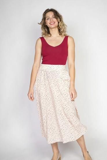 Falda maxi larga rosa...