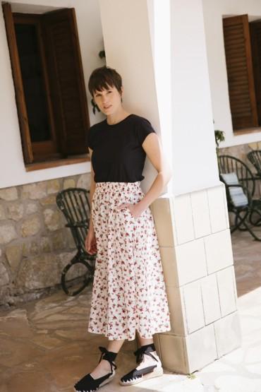 Falda maxi larga blanca con...