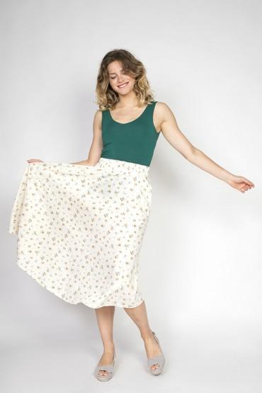 Falda maxi larga blanco con...
