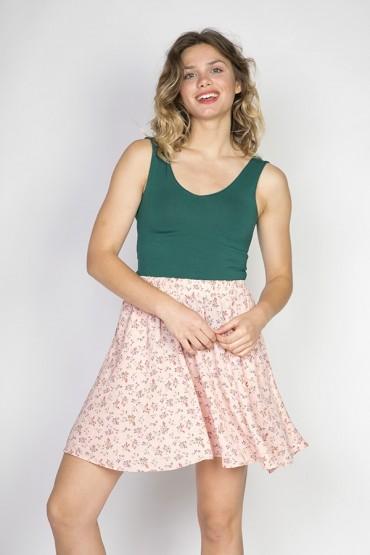 Falda mini rosa pastel flores