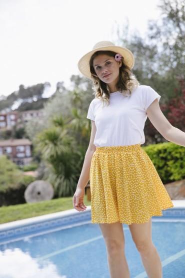Falda mini amarilla con...
