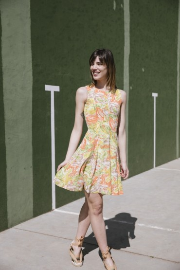 Vestido vintage estampado de colores