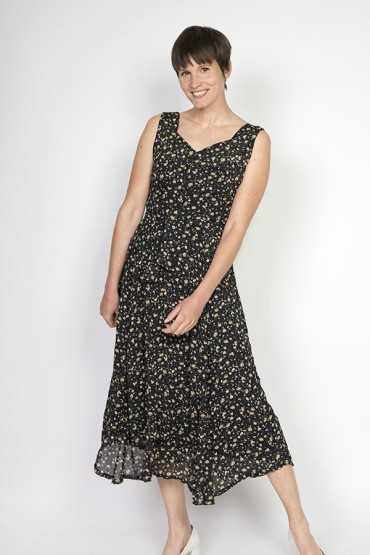 Vestido vintage negro con flores beige y verdes