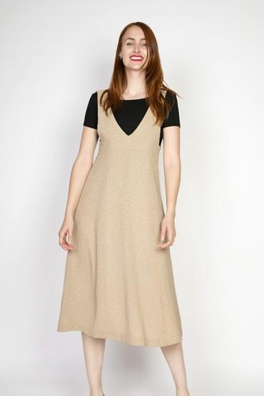 Vestido vintage beige con puntitos negros