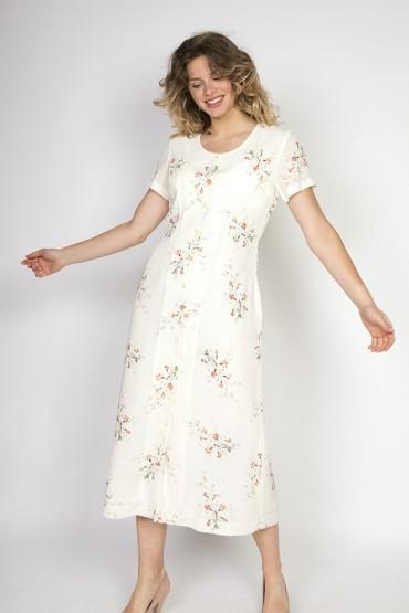 Vestido vintage Select blanco con flores rojas y verdes
