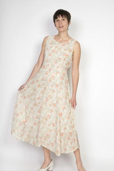 Vestido vintage blanco con flores rosas