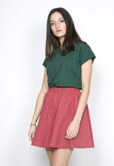 Falda mini roja con estrelllitas