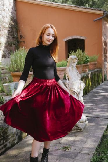 Falda larga terciopelo roja
