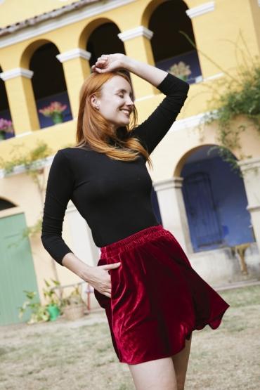 Falda mini terciopelo roja