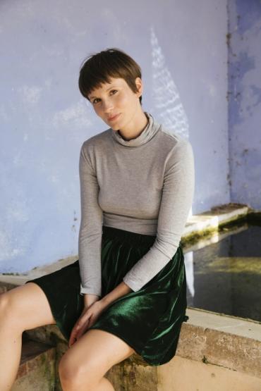 Falda mini terciopelo verde