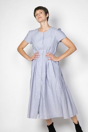 Vestido vintage rayas blancas y azul claro