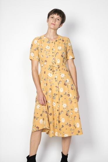 Vestido vintage amarillo con flores