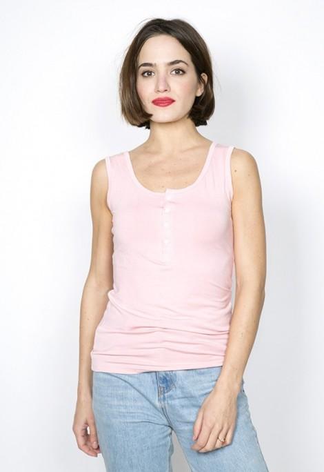 Camiseta básica SusiSweetdress rosa pastel con tirantes y botones
