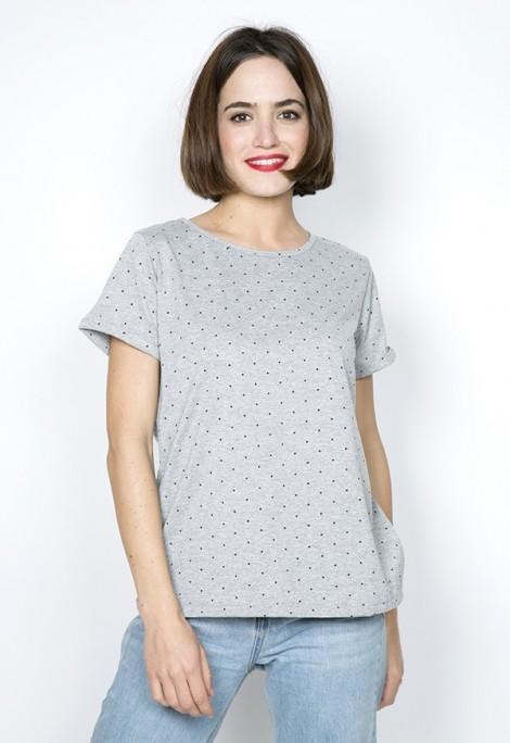 Camiseta SusiSweetdress gris con puntos negros
