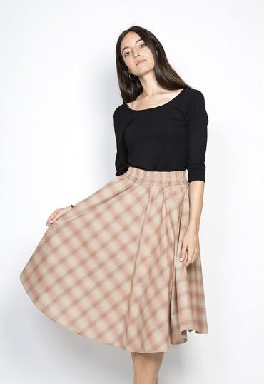 Falda larga color tostado