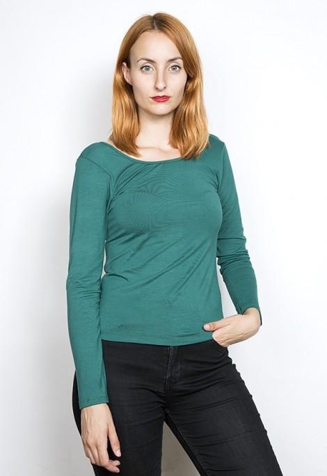 Camiseta básica SusiSweetdress verde bosque manga larga escotada de espalda