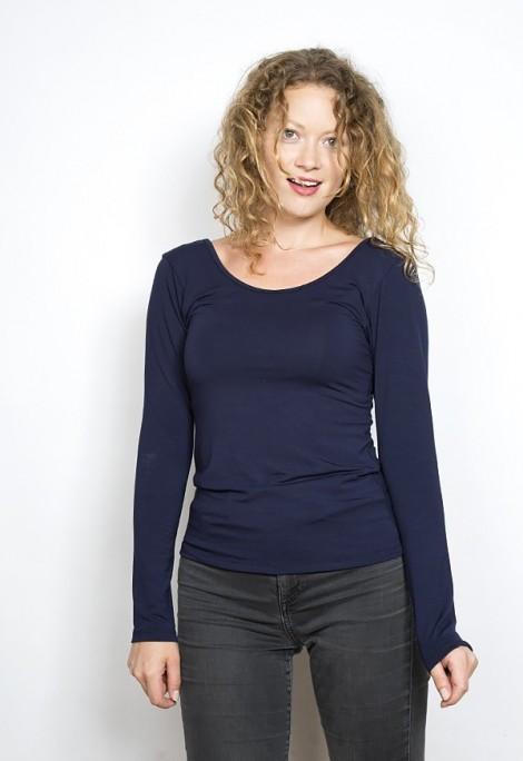 Camiseta básica SusiSweetdressazul marino manga larga escotada de espalda