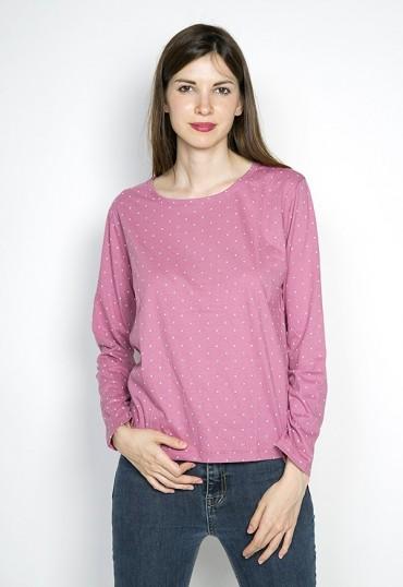 Camiseta SusiSweetdress rosa con puntos blancos manga larga