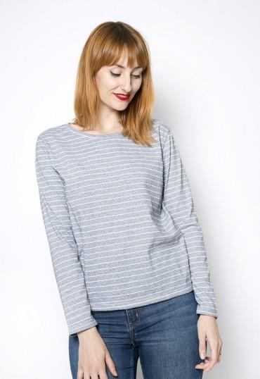 Camiseta SusiSweetdress con rayas negras y blancas manga larga