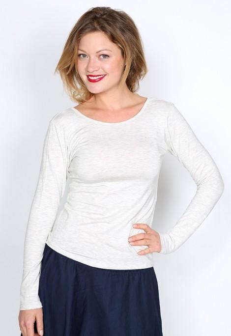 Camiseta básica SusiSweetdress gris clara manga larga espalda escotada