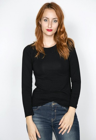 Camiseta básica SusiSweetdress negra manga larga