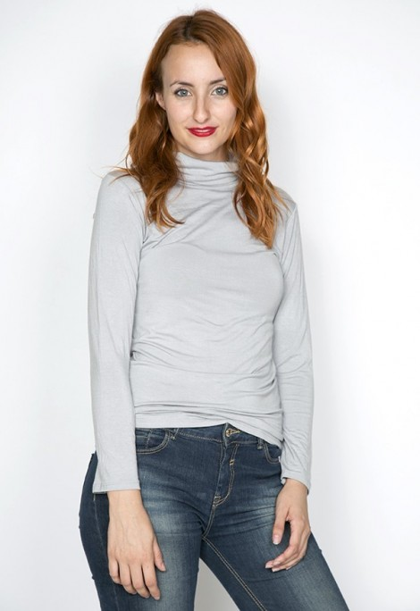 Camiseta básica SusiSweetdress gris perla manga larga cuello alto