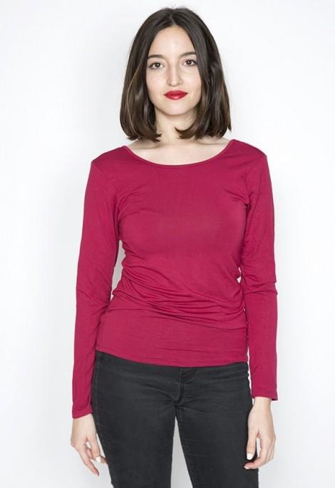 Camiseta básica SusiSweetdress roja manga larga espalda escotada
