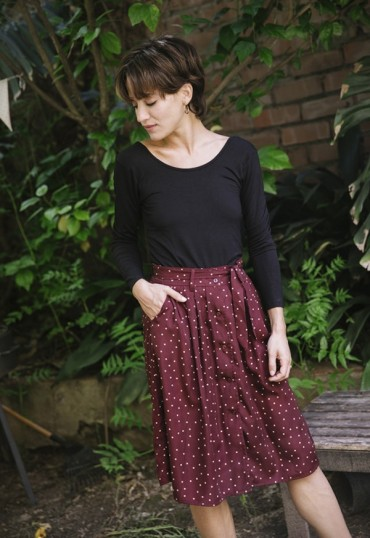 Falda midi granate topos beis Collection