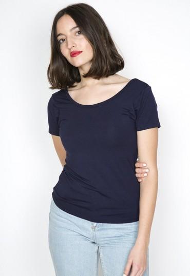 Camiseta básica SusiSweetdress azul marino manga corta