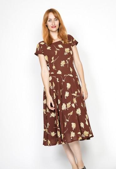 Vestido vintage marrón con...