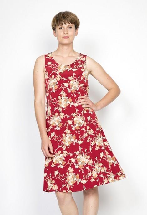 Vestido vintage rojo con flores grandes