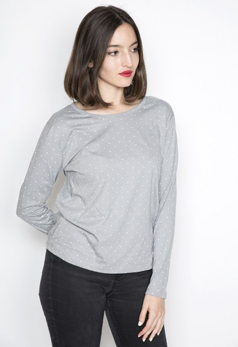 Camiseta SusiSweetdress gris perla con topos blancos