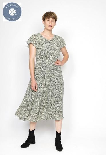 Vestido vintage Select estampado blanco y negro