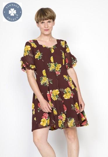 Vestido vintage Select marrón con flores amarillas y rojas
